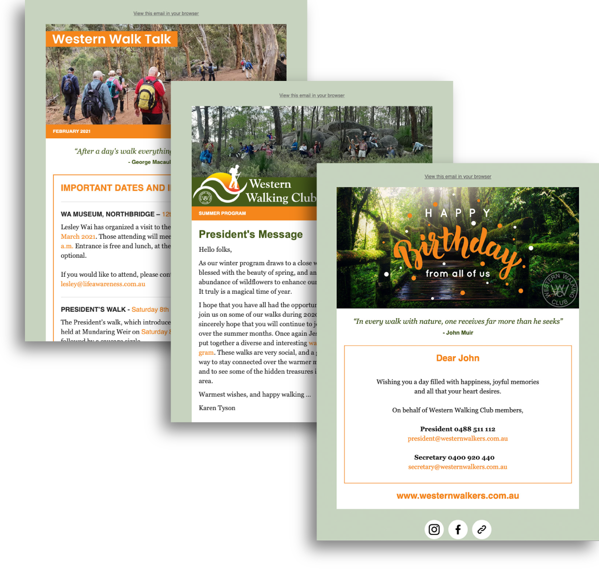 Western Walking Club Email Campaign Templates designed by accurate expressions