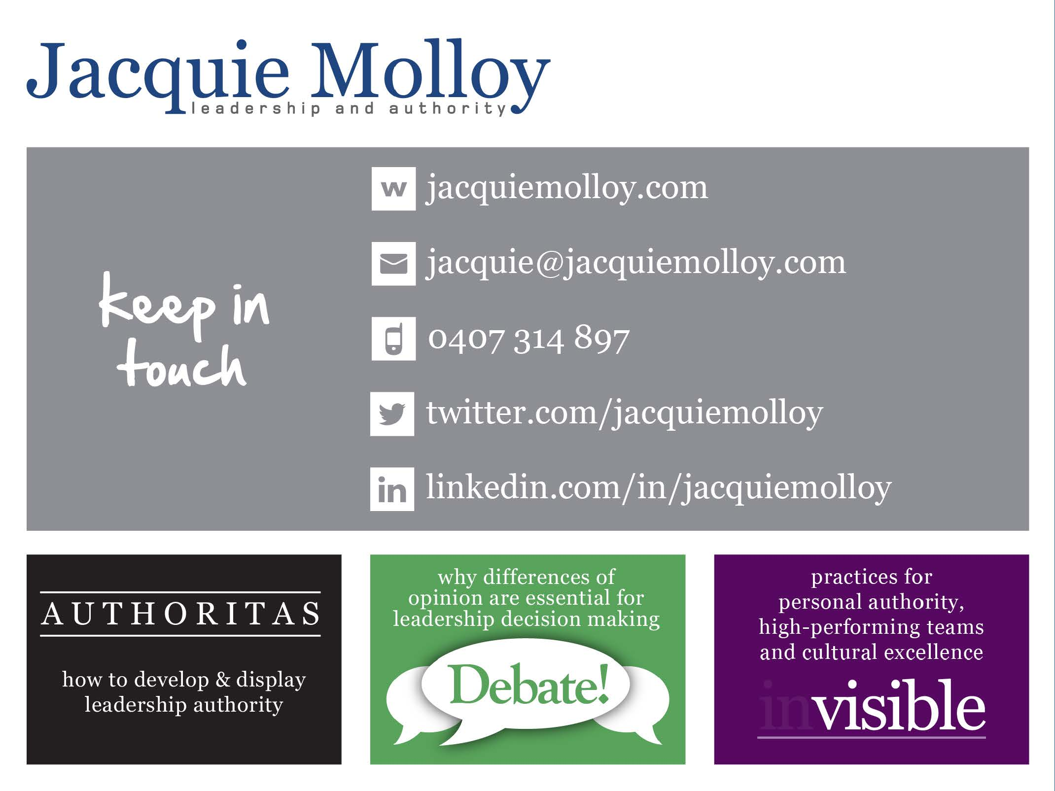 Jacquie Molloy Presentation Slides - designed by accurate expressions